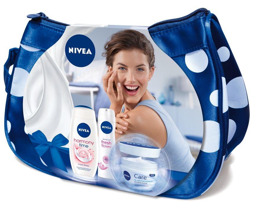 Pachet special de Craciun NIVEA Care, Gel de dus crema Harmony Time si deodorant Fresh Flower